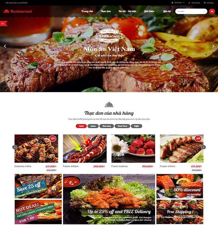 mẫu web nhà hàng N01